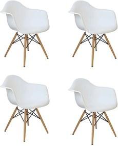Kit 04 Cadeiras Charles Melbourne com Base de Madeira Branco - Facthus