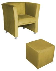Conjunto Poltrona Jade Decorativa com Puff Ana Suede Amarelo