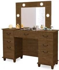 Penteadeira Camarim Com Espelho 7 Gavetas Seul Malbec - Móveis Lupi