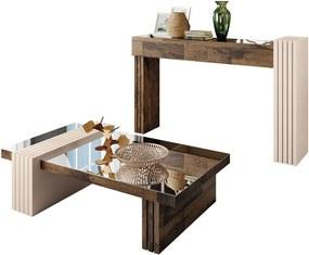 Conjunto de Aparador e Mesa de Centro com Espelho Riad Deck/Off White - Gran Belo