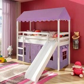 Cama infantil com escorregador e Tenda Castelo Lilás com Telhado Completo e Tecido Lilás - Casatema