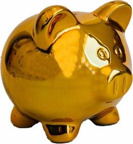 Cofre cerÂmica metalizado - pig dourado