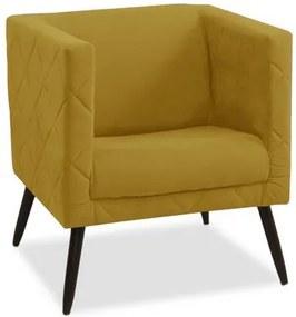 Poltrona Decorativa Pés Palito 1 lugar Maisa - Amarelo suede