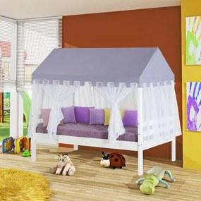 Cama Infantil Prime com Telhado Lilás e Mosquiteiro Proteção Completa - Madeira Maciça - Casatema