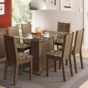 Conjunto Sala de Jantar Madesa Gales Mesa Tampo de Vidro com 6 Cadeiras Rustic/Bege Marrom Cor:Rustic/Bege Marrom