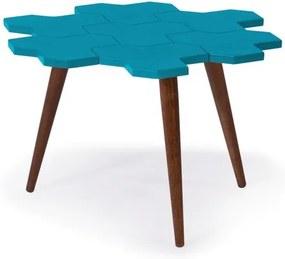 Mesa de Centro Colméia com Tampo Azul Claro Laqueado e Estrutura Madeira Maciça