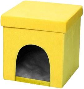 Puff Pet Baú Casinha Desmontável Dobrável Suede Amarelo 38x38 M01 - Lyam Decor