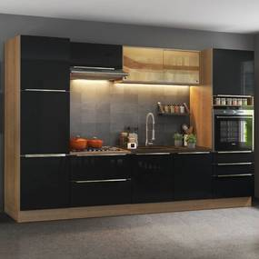 Cozinha Completa Madesa Lux com Armário e BalcÁo - Rustic/Preto Marrom
