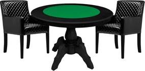 Mesa de Jogos Carteado Redonda Montreal Tampo Reversível Preto com 2 Cadeiras Liverpool Corino Preto Matelassê - Gran Belo