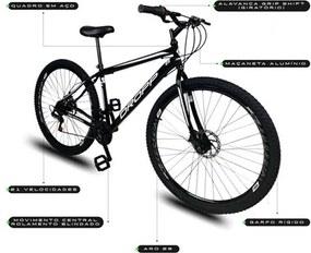 Bicicleta Aro 29 Quadro 19 Aço 21 Marchas Freio a Disco Mecânico Preto/Branco - Dropp