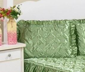 Colcha Casal Padrão Mirela Tecido Cetim 03 Peças - Verde