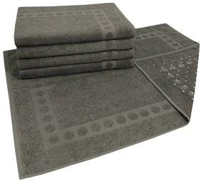 Jogo com 5 toalhas de piso com Antiderrapante Grafite