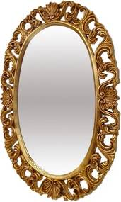 Espelho Clássico Oval Folheado a Ouro com Detalhes na Moldura - 117x83cm