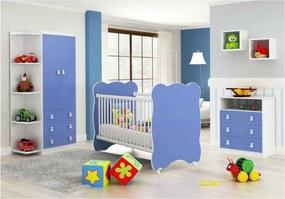 Quarto de Bebê Completo: Guarda-roupa + Cômoda 3 Gavetas + Berço Com Rodinhas- Branco/Azul