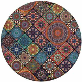 Tapete Redondo Wevans Multi Mandalas Multicolorido 94cm
