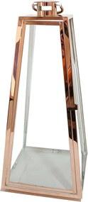 Lanterna Decorativa China Alumino e Vidro Trapézio com Alça Rose D28cm x A66cm