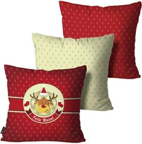 Kit 3 Almofadas Mdecore de Natal Decorativas Vermelho 55x55