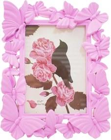 Porta retrato Minas de Presentes Borboletas 13X18cm - Porta Retrato Rosa