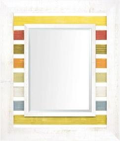 Espelho Decorativo com Moldura Branca e Várias Cores ao Fundo Rústico com Bisotê
