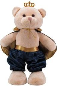 Urso Soft Pequeno Príncipe Capa Cetim Médio e Dourado com Coroa