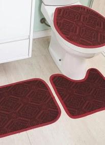 Jogo de Banheiro Vermelho 3 Peças