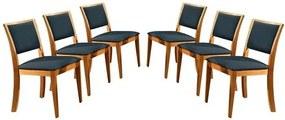 Kit 6 Cadeiras de Jantar Estofada Azul em Veludo Kalip