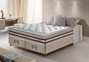 Conjunto Cama Box Queen De Molas Ensacadas D33 Com Pillow Top Cama Inbox Select 158x198x71 Bege