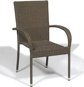 Cadeira de Aluminio Ronne Revestida em Fibra Sintética na Cor Marrom