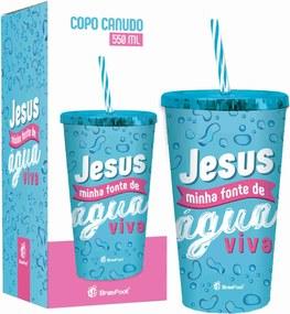 Copo com canudo - fÉ - jesus minha fonte