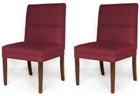 Kit 2 Cadeiras De Jantar Hermione Base Madeira Maciça Estofada Suede Bordô
