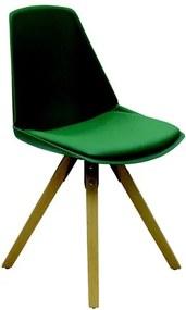 Cadeira Fussen S/Braço em Polipropileno e Madeira Verde