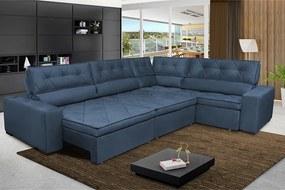 Sofa De Canto Retrátil E Reclinável Com Molas Cama Inbox Austin 3,45x2,44 Ou 2,44x3,45 Suede Velusoft Azul