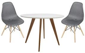 Conjunto Mesa Square Redonda Branco Fosco 88cm + 2 Cadeiras Eames Colméia Preta Base Madeira