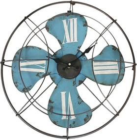 Relógio Ventilador de Parede c/ Números Romanos e Shabby Chic Azul
