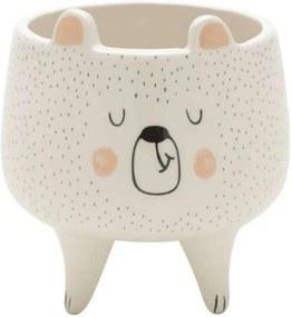 Cachepot Decorativo em Cerâmica Branco Urso 11cm