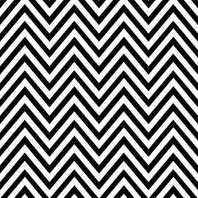 OUTLET - 1 Rolo de Papel de Parede Zig Zag Preto e Branco 0,58 x 2,50 metros - 58x250cm