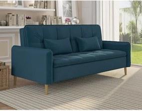 Sofá Cama Donna 3 Lugares com Encosto Retrátil -  Azul