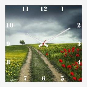 Relógio de Parede Personalizado Paisagem Campo Papoulas 30x30cm