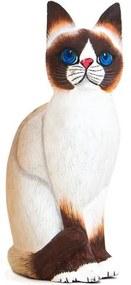 Gato Realista Branco c/ Olho Azul - P