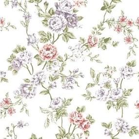 Papel De Parede Adesivo Flores Funco Branco (0,58m x 2,50m)