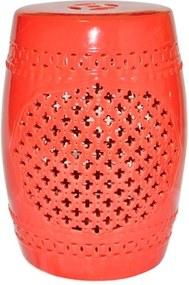 Garden Seat Marroquino Vermelho em Cerâmica - Urban - 46,3x32 cm