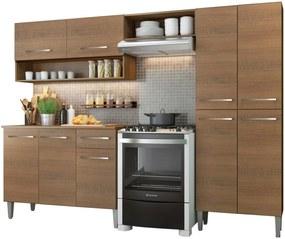 Cozinha Compacta Madesa Emilly Pop Com Armário e Balcão Marrom
