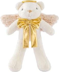 Urso de Pelúcia Soft Anjo com Asas e Gravata Palha e Dourado