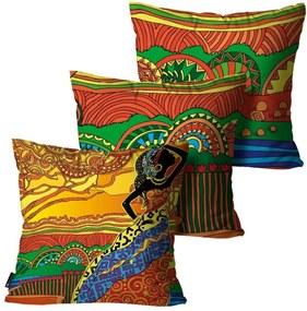 Kit com 3 Almofadas Mdecore Africana Amarelo 55x55cm
