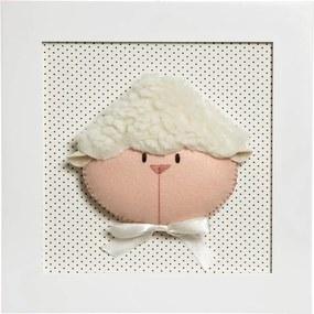 Quadro Decorativo Cara De Ovelha Quarto Bebê Infantil Menina Menino Potinho de Mel Branco