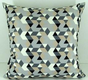 Capa almofada LYON Veludo estampado Triângulos bege 50x50cm