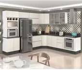 Cozinha Completa Modulada Kali Branco Arezzo Tok em MDF 9 Módulos Nicioli