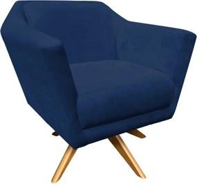 Poltrona Decorativa D'Rossi Lorena Suede Azul Marinho com Base Giratória de Madeira