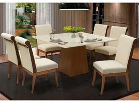 Conjunto Mesa Luiza 1,35 Off White + 6 Cadeiras Larissa Linho Alto Relevo Bege Detalhe do encosto em Courissimo Facto Whisky