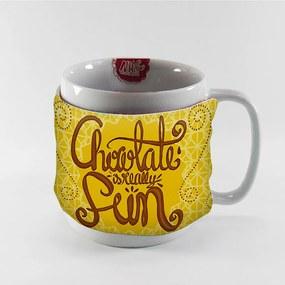 Caneca Tecido Chocolate Amarelo